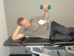 Sidelying external rotation exercise to target the posterior rotator cuff